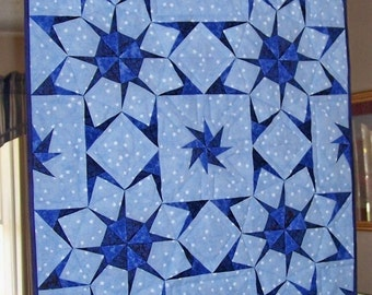Paper Pieced Blue and Navy Stars on a Field of Blue and White Stars