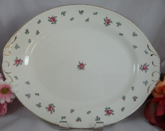 1950s Vintage Homer Laughlin Eggshell Georgian Rambler Rose Oval Platter