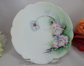 1920s Vintage PT Bavaria Tirschenreuth Hand Painted Pink Poppy Small Plate
