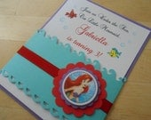 Custom Order for (Laura Atwell)- 20 invitations, Disney Little Mermaid Inspired- Handmade Invitations