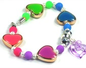Girls Heart Bracelet, Pink and Green Blue and Purple Enamel Hearts, Girls Hand Crafted Purple Open Acrylic Heart Dangle Bracelet