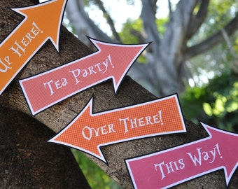 Alice in Wonderland & Mad Hatter inspired Tea Party pdf printable Arrow Signs / this way that way Photo Props