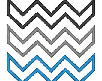 Zigzag Chevron x3 Pattern Applique. INSTANT DOWNLOAD Machine Embroidery Design Digitized File