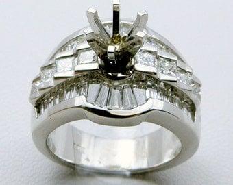 Gorgeous 2.25cttw. Diamond Semi Mount  Set in 14K White Gold SKU R-1360