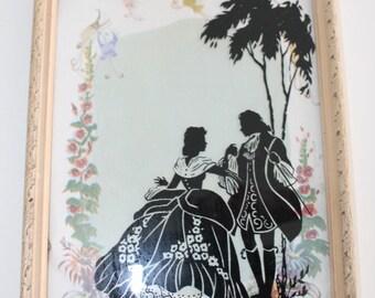 Vintage Black Silhouette Reverse Painted Romantic Picture