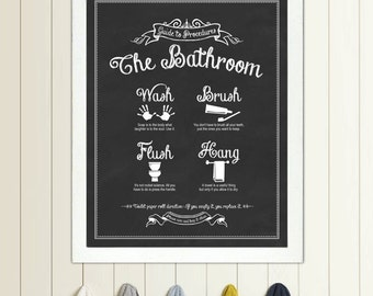 Guide to Procedures: The Bathroom - 11x14 print - Bathroom, Rules, Sign, Vintage, Decor, Art, Wall, Wash, Brush, Flush, Hang
