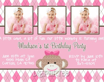 Pink Sock Monkey Invitation