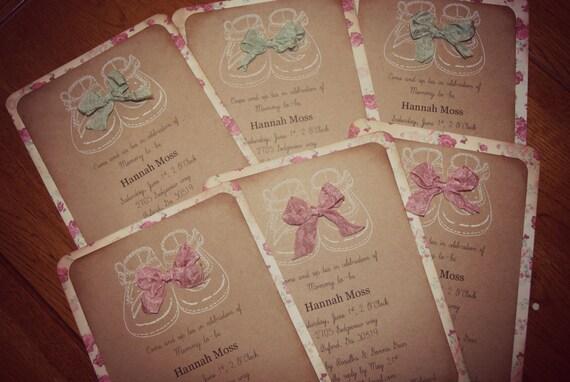 shabby chic baby shower invitations girl, Baby shower invitations