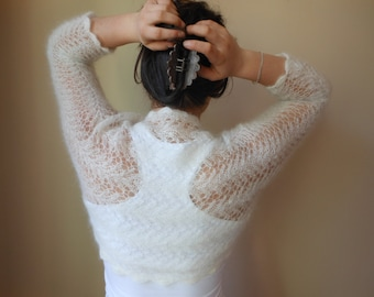 Knitted  Shrug Bolero Wedding Summer Shrug Lace Off White Mohair Silk