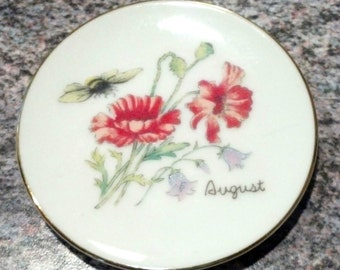 """Decorative """"August"""" Plate (Flowers) - Made in Japan"""