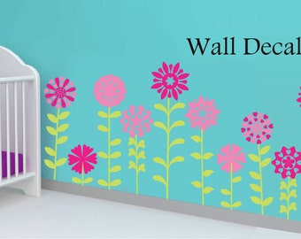Flower Wall Decal - Floral Wall Decor - Vinyl Wall Decor - Flower Decals - Flower Wall Decals - Pink Flower Decal