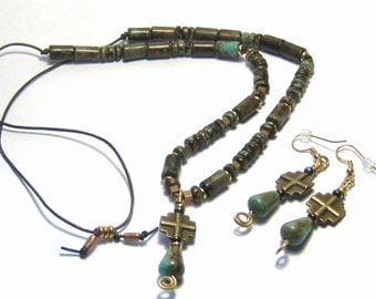 Turquoise Magnesite Beaded Cross Leather Necklace Earrings Bohemian Jewelry