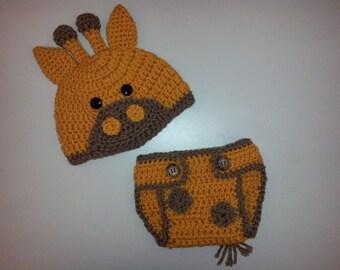 Newborn Crochet Giraffe Hat and Diaper Cover Set
