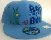 Hand-painted Plankton Spongbob Inspired Fitted Cap Adult Kids Teens