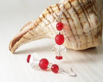 Ethical Red Glass Bead Earrings, Silver Earrings,Valentine Earrings