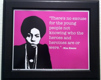 Nina Simone with Quote Art Print
