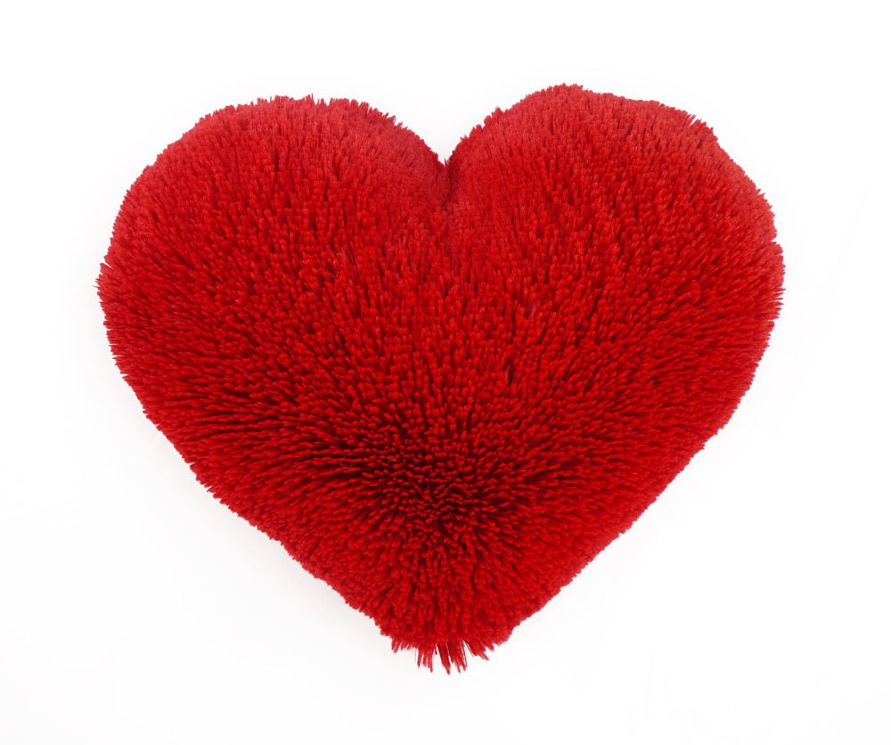 Red Heart Decorative Pillow : Valentine s Gift Fluffy Red Heart Shaped Decorative Pillow