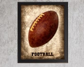 Football - photo print - Type Poster Wall Art Textured Distressed Beige Tan Black Vintage Sports Dad Fathers Day Grad Baby Boy Nursery Decor