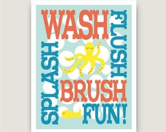 "Childrens Kids Bathroom Art Print  11"" x 14"" Fine Art Home Decor Wash Flush Brush Fun Glass Yellow Coral Rain"