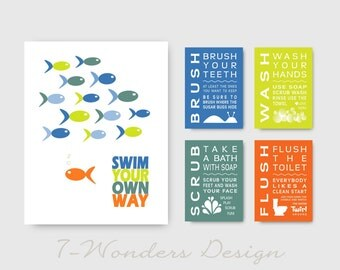 Swim Your Own Way  Kids Bathroom Art Prints Set  - (1) 11 x 14 and (4) 5 x 7 Art Prints // Childrens Kids Bathroom