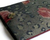 """11"""" Chromebook Cover, 11"""" MacBook Air Case  with Beautiful Piping to the Edge - Shock Absorbent Foam Padding - Designer Denim Fabric ROSES"""