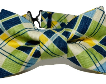 Bow Tie - Blue and Green Plaid Bowtie