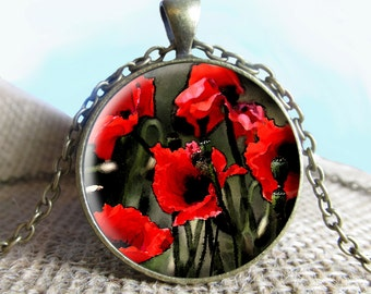 Poppies Pendant/Necklace Jewelry, Fine Art Necklace Jewelry, Poppies Flowers Jewelry Glass Pendant Gift