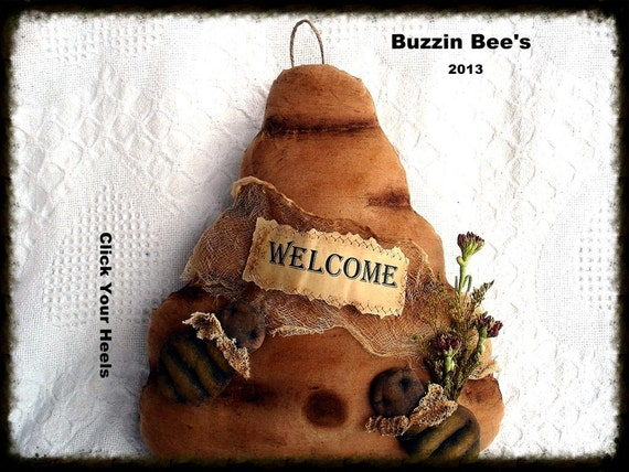 Primitive Buzzin Bees & Bee Skep Pattern Click Your Heels
