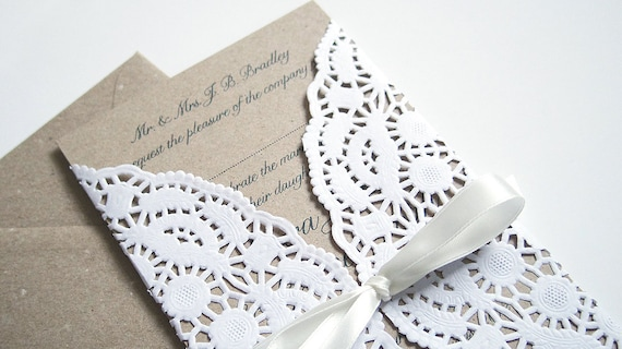 Paper Lace Wedding Invitation SAMPLE By STNstationery On Etsy