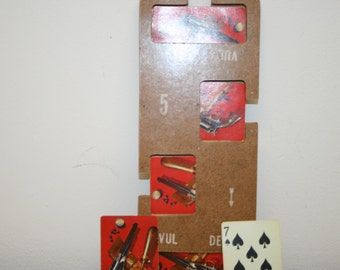 Playing cards, vintage bridge board with 52 card deck, ephemera, art deco, vintage cards, gun, cards