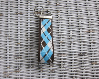 Turquoise Brown Argyle Keychain - Womens Preppy Key Fob