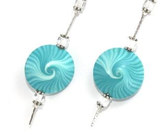 Elegant earrings, polymer clay earrings, Swirl Lentil earrings, Turquoise and white round earrings.