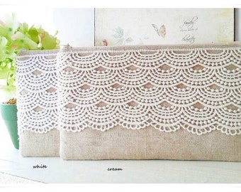 Bridesmaids lace clutch rustic chic natural linen blend white ivory cream lace evening purse