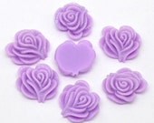 10 Resin Flower Cabochon Rose with Iridescent Glitter 21 x 19mm -  PURPLE  - Pack of 10 CAB42