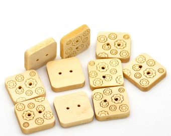 """20 Square  Wood Floral Design Buttons - 2 Holes Wood Sewing Buttons Scrapbooking 15mmx15mm(5/8""""x5/8"""") - 20 Pack AB17"""