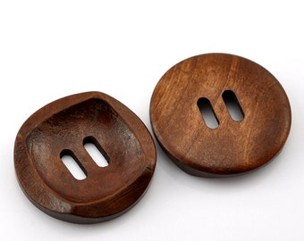 "6 Round With Square Detail Concaved Wood Button Two HoleCoffee Colour 30mm (1 1/8"")  - 6 Pack PWB02"