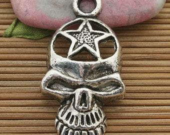 8pcs dark silver tone skull star pendant charm h3767