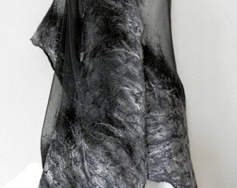 nuno felted silk scarf shawl I-GREY handmade,art to wear, silk wool scarf, 100% natural, eco fashion by Kantorysinska
