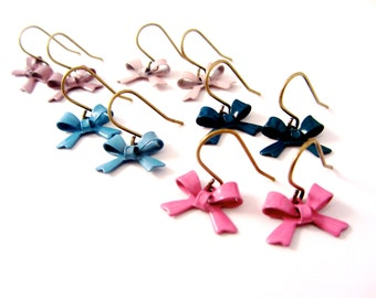 Bow Dangle Earrings, Enamel Bow Earrings, Pink, Blue, Turquoise Lilac and Purple, Pick One