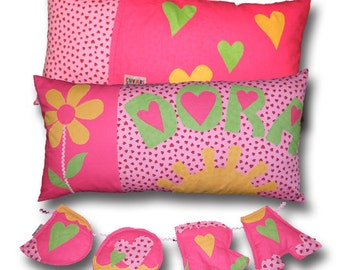 Pink Girl Pillow and set of 4 fabric letters