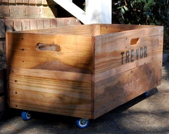 Personalized X-Large Rolling Crate/Wooden Crate/Toy Storage/Box