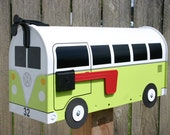 Lime Green Volkswagen Bus Mailbox by TheBusBox Custom made - Choose your color - SplitBusBox