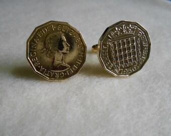 UK Elizabeth II - Three Pence Coin Cufflinks