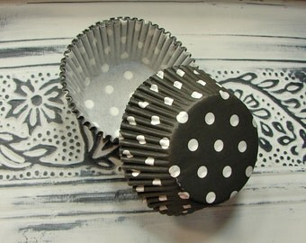 Cupcake Liners - Black with White Polka Dots - 50 Piece