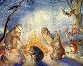 Woodland Animals Have 4th of July Cookout. Vintage Storybook Illustration.  Digital Download. Vintage  Print.