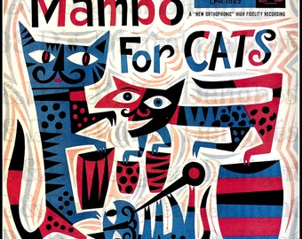 Mambo for CATS. Vintage ILLUSTRATION. Cat  Digital Download