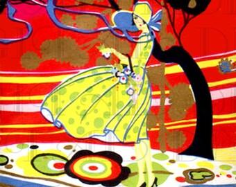 RARE Vivid 1920s Art DECO Lovely Girl Bridge Tally. Art Deco Digital Download. VINTAGE  Illustration.