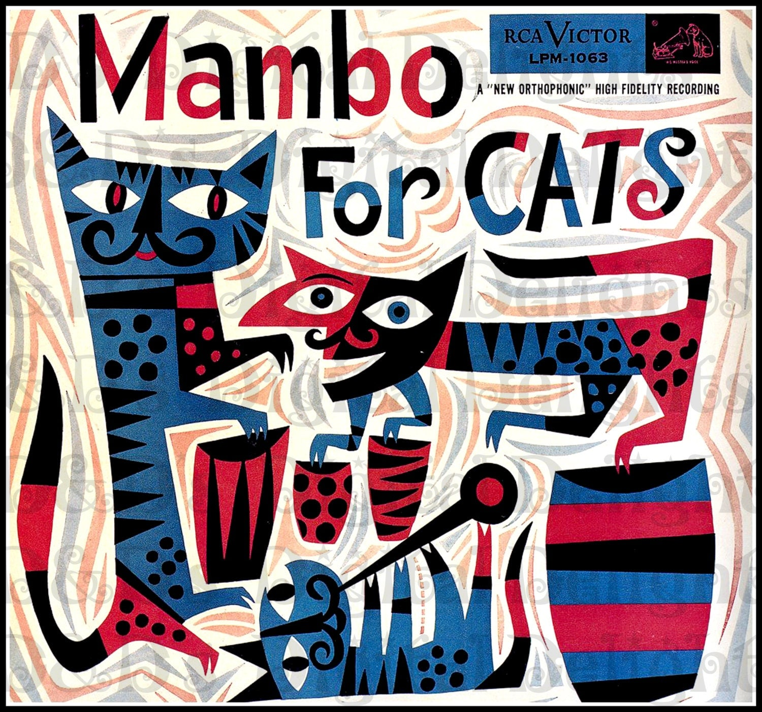 Vinyl Cover Art Book : Mambo for cats vintage illustration cat digital download
