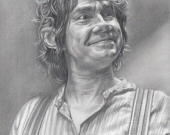 Drawing Print of Martin Freeman as Bilbo Baggins from The Hobbit