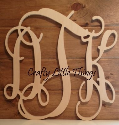 36 inch connected wooden monogram letters vine font diy for 36 inch wooden letters
